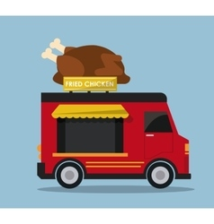 Chicken truck fast food icon graphic vector