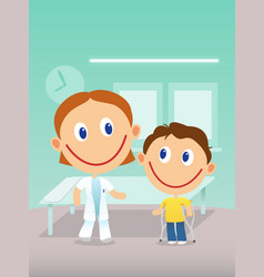 Child with cruthes visit doctor in the clinic vector