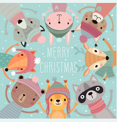 christmas card with cute forest animals hand vector image