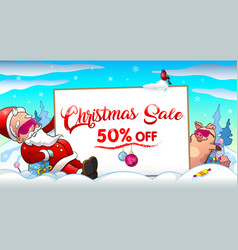 christmas sale invitation with santa and pig vector image