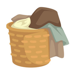Clothes and linen laundry in wicker basket vector