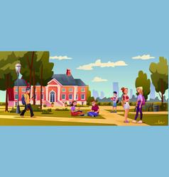 college university building campus students walk vector image