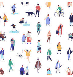 colorful seamless pattern with different people vector image