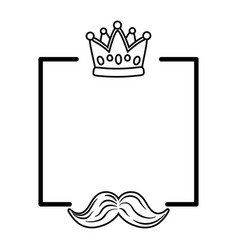 crown and moustache frame black and white vector image