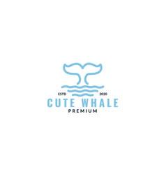 Cute whale tail line sea water logo design vector