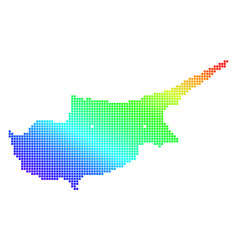dotted pixel spectrum cyprus map vector image