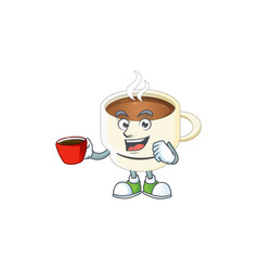 Drinking in cup character cup coffee in cartoon vector