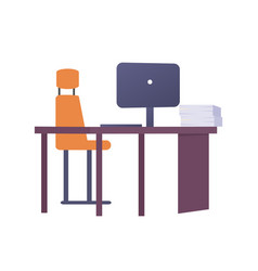empty workplace with metal chair laptop vector image