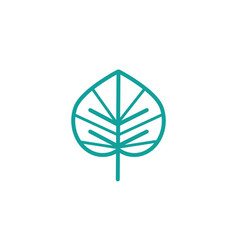 exotic foliage nature leaf icon line green vector image