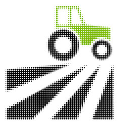 farm field with tractor halftone icon vector image