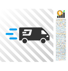 Fast dash delivery car flat icon with bonus vector