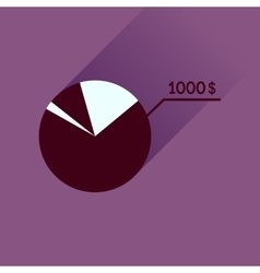Flat icon with long shadow money chart vector image