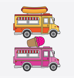 food truck ice cream and hot dog vector image