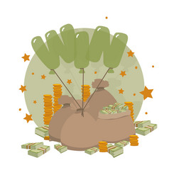Full sacks with money tied with balloons in form vector