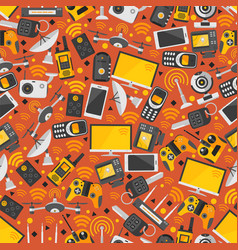gadgets and devices in seamless pattern internet vector image