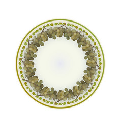 Grapes bunches on plate vector