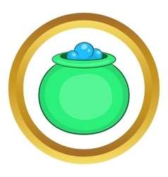 Green witch cauldron with potion icon vector