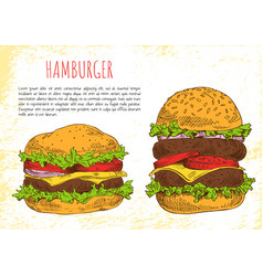 hamburgers with rich stuffing vector image