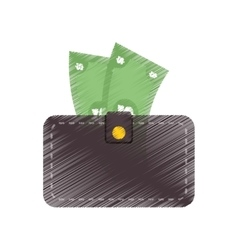 Hand draw wallet bill money cash dollar color vector