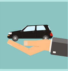 hand holding black car buying or vector image