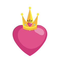 heart love with queen crown valentines card vector image