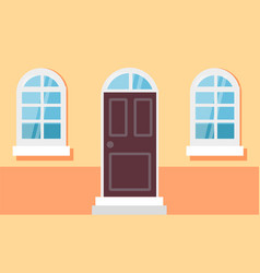 house facade entrance door and windows vector image