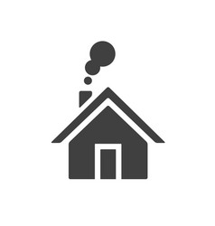 house with smoke going from chimney home icon vector image