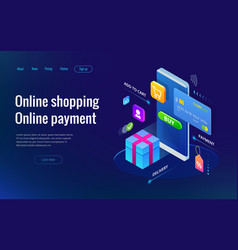 isometric shopping online and payment online vector image