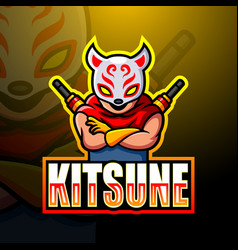 Kitsune ninja mascot esport logo design vector
