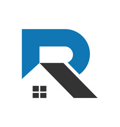 letter r abstract home logo icon vector image