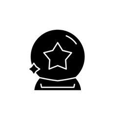 magic ball black icon sign on isolated vector image