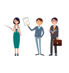 Man holding business plan and woman with pointer vector