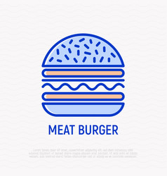 meat burger thin line icon vector image