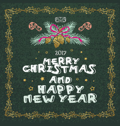 merry christmas and happy new year words on green vector image