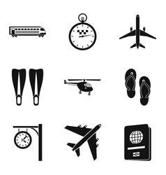Municipal transport icons set simple style vector