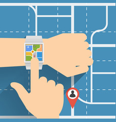 navigation with smart watch vector image