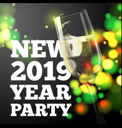 new year banner with transparent champagne glass vector image