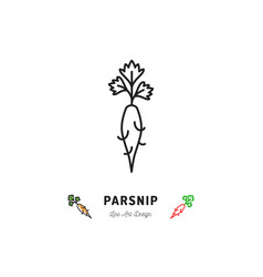 parsnip icon vegetables logo thin line art design vector image