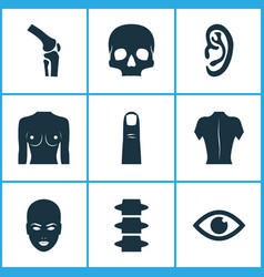 part icons set with eye finger breast and other vector image