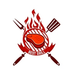 Piece of meat on the grill Best grill vector image