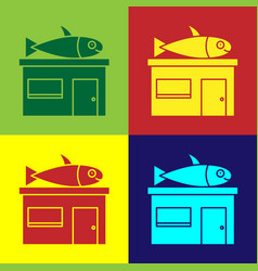 Pop art seafood store icon isolated on color vector