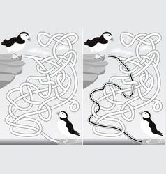 Puffin maze vector