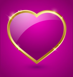 Purple and golden heart vector image