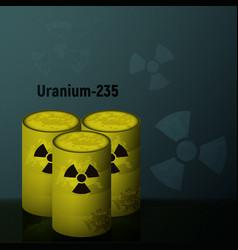 Radioactive uranium in the barrels vector
