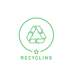 recycling sign green round line sticker with vector image