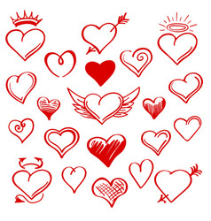 red sketch heart set vector image