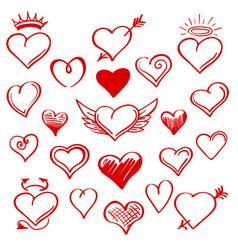 Red sketch heart set vector