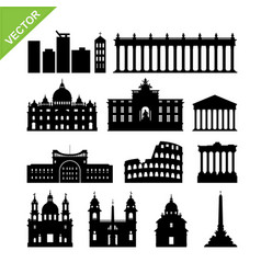 Rome city italy landmark and skyline silhouettes vector