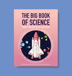 Science cover book design with rocket molecule vector