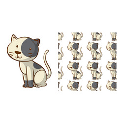seamless background design with cute kitten vector image